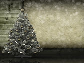 Christmas background - tree and blank paper sheet — Foto Stock