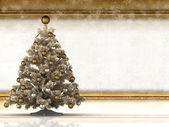 Christmas background - christmas tree and blank paper sheet — Foto Stock