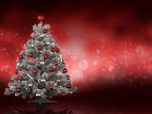 Christmas tree on red background — Stock Photo