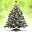 Christmas tree on green background — Foto Stock