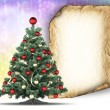 Christmas tree and blank paper sheet on colorful background — Foto Stock