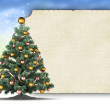 Christmas template - xmas tree and blank paper sheet — Foto Stock