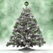 Xmas tree on green background — Stock Photo