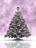 Vánoční strom a mnoho sněhové vločky v pozadí — Stock fotografie