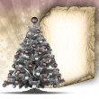 Christmas tree and paper sheet — Stockfoto