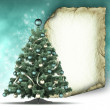 Christmas card template - xmas tree and paper sheet — Foto Stock