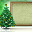 Christmas background - xmas tree and blank paper sheet — Foto Stock
