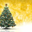 Christmas tree on yellow background — Stockfoto