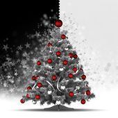 Christmas tree with red baubles on black and white background — Stock Photo