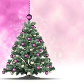 Christmas tree on white and pink background — Stock Photo