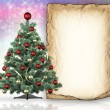 Christmas tree and blank paper sheet in background — Stock Photo