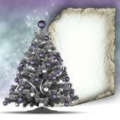 Xmas tree and blank paper sheet — Stockfoto