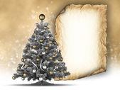 Christmas background - xmas tree and handmade paper sheet — Stock Photo