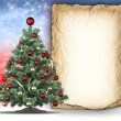 Christmas tree and paper sheet for text — Foto Stock