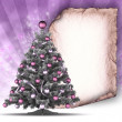 Christmas card - xmas tree and blank handmade paper sheet — Stock Photo