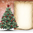 Christmas tree and handmade paper sheet — Foto Stock