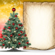 Christmas background - xmas tree and handmade paper — Foto Stock