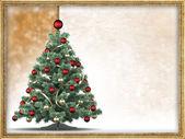 圣诞树和空白图片框中的文本 — 图库照片