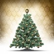 Christmas card template - xmas tree on patterned background — Stock Photo