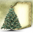Christmas tree, blank paper sheet and stars in background — Stock Photo