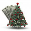Christmas tree and dollars — Stockfoto