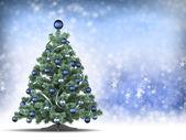 árvore de natal em fundo azul — Foto Stock