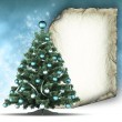 Christmas tree and blank paper sheet — Stockfoto