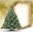 Christmas tree and blank paper sheet — Stock Photo