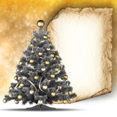 Christmas card template - blank paper sheet and christmas tree — Stock Photo