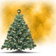 Christmas tree on yellow background — Stock Photo