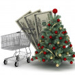 Shopping cart, dollar bills and christmas tree — Stock Photo