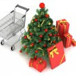 Christmas gifts - shopping cart, gifts and christmas tree — Stock Photo