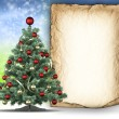 Blank paper sheet and christmas tree — Stock Photo