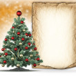 Christmas tree and blank paper sheet — Stok fotoğraf