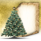 Christmas tree and paper sheet — Foto de Stock