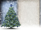 Template - christmas tree and blank handmade paper sheet in pict — Stock Photo