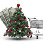 Christmas tree, shopping cart and dollar bills — Stock Photo #35638507