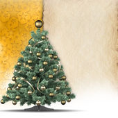 Christmas background - xmas tree and blank paper sheet — Stock Photo
