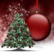 Christmas tree and big bauble — Stockfoto