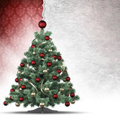 Christmas tree and paper sheet — Stock Photo