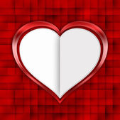 Valentines day - white heart on red background — Stock Photo