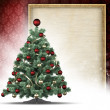 Christmas tree and blank paper sheet in picture frame — Foto de Stock