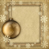 Christmas background - bauble and snowflakes — Photo