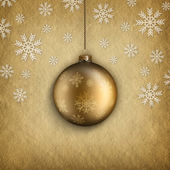 Christmas bauble and snowflakes — Stok fotoğraf