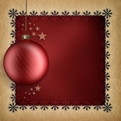 Christmas card template - red bauble and snowflakes — Stock Photo
