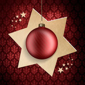 Christmas card template - red bauble on star — Stock Photo