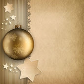 Christmas background - bauble and stars — Stock Photo