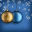 Christmas background - Gold and blue baubles — Stock Photo