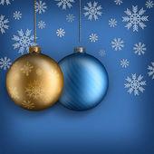 Noel arka plan - altın ve mavi baubles — Stok fotoğraf