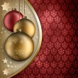 Christmas background - golden and red baubles — Foto Stock